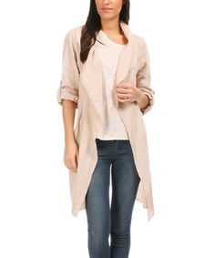 Look what I found on #zulily! Sand Roll-Tab Sleeve Linen Jacket - Women by 100% LIN BLANC #zulilyfinds