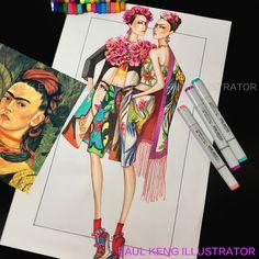 Frida | Fashion Design & Illustration by Paul Keng @paulkengillustrator