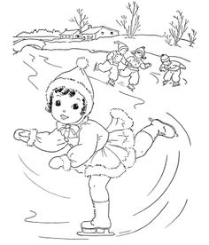 women play ice skating coloring pages