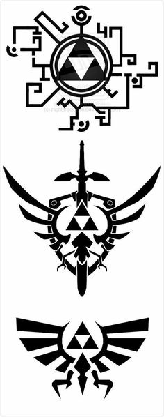 Symbols of Zelda Video Game Art, Video Games, Legend Of Zelda Tattoos, Image Zelda, Gaming Tattoo, Nintendo Tattoo, Legend Of Zelda Breath, Desenho Tattoo, Link Zelda