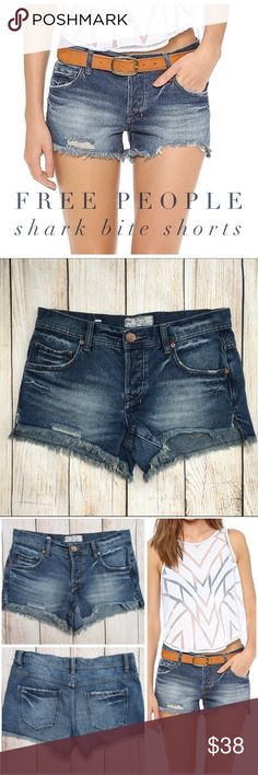 """{Free People} Shark Bite Denim Jean Shorts BRAND:FREE PEOPLE ITEM: Shark Bite Denim JeanShorts FEATURES:Heavy Manufacturer Fading, Distressing & Shredding, 5 Pocket, Button Fly Front FABRIC:100% Cotton SIZE:25 CONDITION: Pre-Owned/EUC  MEASUREMENTS Waist: 15"""" Inseam: 3"""" Rise: 8""""  PLEASE NOTE: Measurements are approximate and taken while item is laying flat  ALL ITEMS SHIP FROM SMOKE FREE HOME. NO Trades. NO Holds. NO PayPal. NO Lowball Offers. Offer Button Only. Free People Shorts Jean…"""