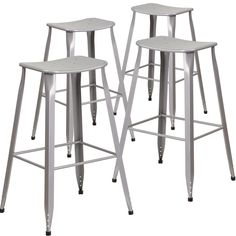 Backless industrial stools, bar height, silver finish.