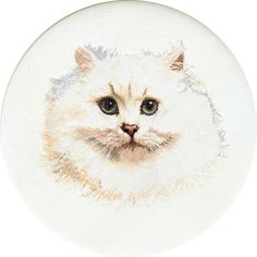 Thea Gouverneur counted-cross-stitch Kit Persian Cat On Linen White