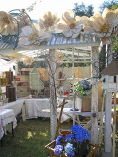giant paper flowers-top of tent
