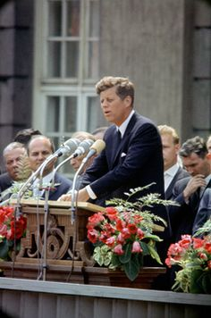 """June 26, 1963: """"President John F. Kennedy visits Berlin, reaffirming US support for this outpost of freedom with his famous """"Ich bin ein Berliner!"""" (""""I am a Berliner!"""") speech."""""""