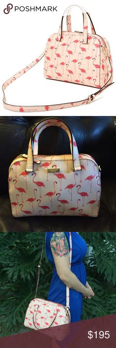 Kate Spade Felix Newbury Lane flamngoport Authentic Kate Spade Flamingo Print bag in beautiful shades of pink. All gold hardware. Comes with an adjustable, detachable shoulder strap. kate spade Bags