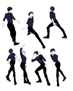Katsuki Yuri Yuri on Ice Katsuki Yuri, Yuuri Katsuki, Yuri On Ice, Ice Skating, Figure Skating, Figure Ice Skates, Pose Reference, Drawing Reference, Aesthetic Couple