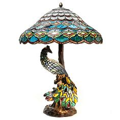 "437-727- Tiffany-Style 26.5"" Peacock's Hallow Double Lit Stained Glass Table Lamp"