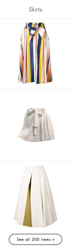"""""""Skirts"""" by fufuun ❤ liked on Polyvore featuring skirts, stripe skirt, knee length a line skirt, a line skirt, striped a line skirt, striped skirt, nude, white leather skirt, leather skirt and genuine leather skirt"""