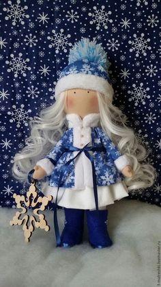 Купить Интерьерная кукла Снегурочка - голубой, бело-голубой, снегурочка, Снежка, тыквоголовка