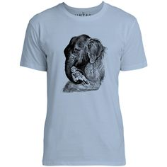 Mintage Elephant Cradling a Child Mens Fine Jersey T-Shirt (Azure)