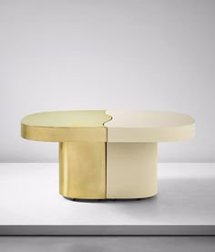 Gabriella Crespi; Brass-Covered and Lacquered Wood Adjustable 'Yang Yin' Table, 1979.