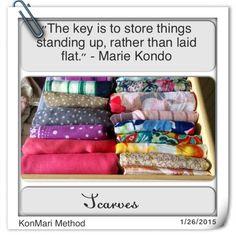 KonMari Method - Scarves ★ ♥ ♡༺✿ ☾♡ ♥ ♫ La-la-la Bonne vie ♪ ♥❀ ♢♦ ♡ ❊ ** Have a Nice Day! ** ❊ ღ‿ ❀♥ ~ Fr June 2015 ~ ❤♡༻ ☆༺❀ . Scarf Organization, Clutter Organization, Organizing Scarves, Organizing Life, Organising, Marie Kondo Konmari, How To Fold Scarf, Organizar Closet, Scarf Storage