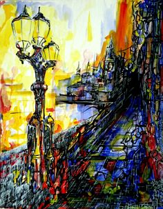 """On the bridge""   by Michal J. Gabriel Rodak  Watercolor on paper   #art  #watercolor  #bridge  #London  #artist  #colors  #lantern  #expressionism"
