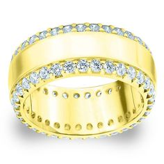Amore Yellow Gold 1 1/2ct TDW Diamond Anniversary Band (G-H, SI1-SI2) (18K Yellow Gold - 12), Women's (solid)