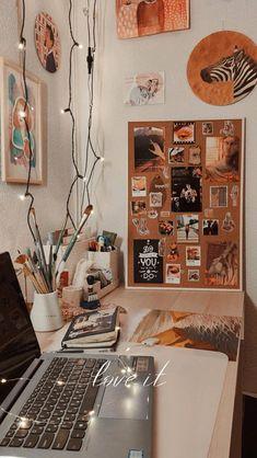 Room Design Bedroom, Room Ideas Bedroom, Bedroom Decor, Wall Art For Bedroom, Dorm Room Themes, Study Room Decor, Study Rooms, Indie Room, Aesthetic Room Decor
