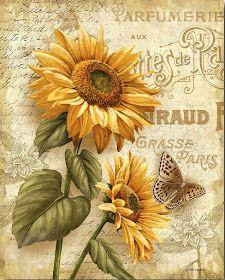 Beauty in Bloom III, girasoles, mariposa, decoupage, Decoupage Vintage, Decoupage Paper, Vintage Diy, Vintage Cards, Vintage Paper, Vintage Style, Images Vintage, Vintage Pictures, Sunflower Art