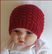 Knitting pattern in baby sizes, for a simple textured stitch worked in Beanie Knitting Patterns Free, Beanie Pattern Free, Baby Hats Knitting, Knitting For Kids, Knitting Yarn, Knitting Projects, Free Pattern, Knitted Baby Beanies, Knitted Hats