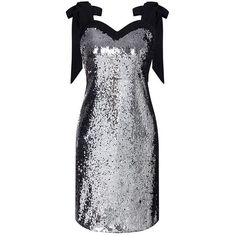 Silver Metal Sequins Mini Dress With Bowknot ($86) ❤ liked on Polyvore featuring dresses, short sequin cocktail dresses, sequin dress, sequin cocktail dresses, mini dress and short dresses