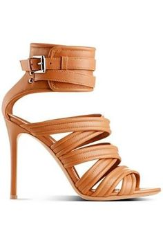 Gianvito Rossi Toffee Leather Ankle Cuff Stiletto Heel Sandal