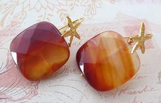 Agate earrings orange stone earrings carnelian by Sofiasbijoux