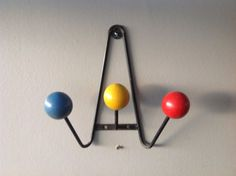 SALE 1 French Mid-Century Modern Retro-Atomic Coat Hook or Rack, blue red yellow on Etsy, $134.00