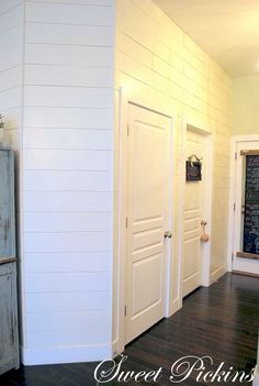 {Plank Wall} – Before & After - Wall Treatments White Plank Walls, Wood Plank Walls, Wood Planks, Planked Walls, How To Make Headboard, Faux Shiplap, Shiplap Siding, Whitewash Wood, Ship Lap Walls