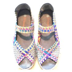 """BM bernie mev. """"Comfi"""" Shoes Your feet will thank me first then you will. These shoes are the picture if cute and comfort . Seriously you will also want to wear this. Colorful yellow, pink, blue, orange , green and purple braided upper on a one inch grey platform. Purchased from Nordstrom pre-loved but in great shape. Bernie Mev Shoes Espadrilles"""