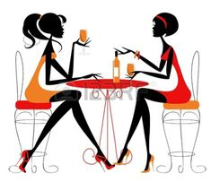 Ladies Drinking Coffee Clipart - Clipart Kid