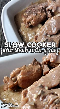 This Slow Cooker Pork Steak with Gravy recipe is a true dump-and-go recipe. It is so tender delicious and super easy! You're gonna love it! - March 23 2019 at Pork Steak Recipe Crock Pot, Baked Pork Steak, Pork Ham, Crockpot Recipes, Cooking Recipes, Crockpot Pork Steaks, Easy Pork Recipes, Ham Steak Recipes, Meal Recipes