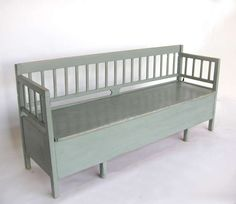 View this item and discover similar for sale at - Antique Swedish painted 'kökssoffa' (kitchen sofa) bench. Traditionally used by the family maid as a bed. Top lifts up and front can be pulled forward Green Furniture, Painted Furniture, Rustic Farmhouse Furniture, Kitchen Sofa, Kitchen Furniture, Swedish Kitchen, Yellow Bedding, Bedding Sets, Sofa Bench