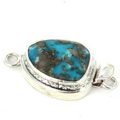 BLUE BIRD TURQUOISE STERLING OVAL CLASP 13x16mm