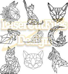 Geometric Cat Tattoo, Geometric Fox, Geometric Drawing, Geometric Shapes, Chat Origami, Origami Cat, 3d Zeichenstift, Stylo 3d, Animal Stencil