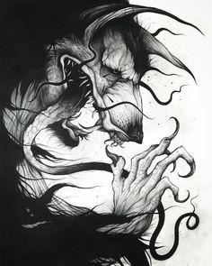 black sketching wolf tatoo by @strange_dust