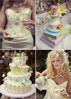 Alice in Wonderland themed wedding shower. The cake is amazing.