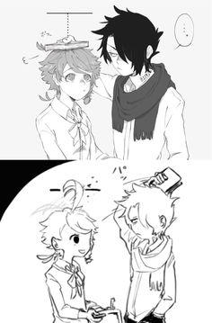 Emma & Ray | The Promised Neverland | Artist: @tacoot_g Chica Anime Manga, Anime Kawaii, Otaku Anime, Anime Art, Fanarts Anime, Anime Characters, Desenhos Love, Anime Triste, Shingeki No Bahamut