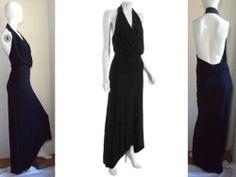 YA-YA YAYA AFLALO IPANEMA DRAPED BLACK HALTER JERSEY MAXI DRESS GOWN NWT $330 L