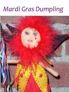 OOAK Mardi Gras Dumpling ready to ship by MountainDolls on Etsy, $25.00