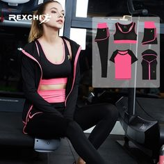 d0faf8d147cba REXCHI 5Pcs Women Yoga Set Gym Fitness Suit Sports Wear Workout Clothes for  Running Jogging Training
