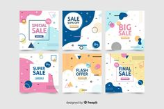 Collection of modern sales banner for social media Free Vector Banner Design Inspiration, Packaging Design Inspiration, Creative Poster Design, Graphic Design Posters, Modern Graphic Design, Instagram Design, Powerpoint Design Templates, Free Banner, Instagram Post Template