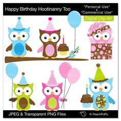 birthday owl clip art digital clipart animal by peachpopsclipart, $5.00