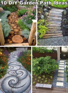 Verschillende ideeën voor een creatief tuinpad