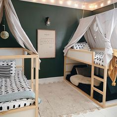 Girl And Boy Shared Room With Bunk Beds ` Girl And Boy Shared Room - Kinderzimmer Girls Bunk Beds, Kid Beds, Boys Bed Canopy, Bed Canopies, Ikea Kura Bed, Kura Bed Hack, Ikea Daybed, Ikea Kura Hack, Kids Room Design