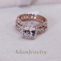 3 Rings Set - VS 7x9mm Pink Morganite Wedding Set Matching Band 14K Rose Gold in Jewelry & Watches, Engagement & Wedding, Engagement/Wedding Ring Sets | eBay