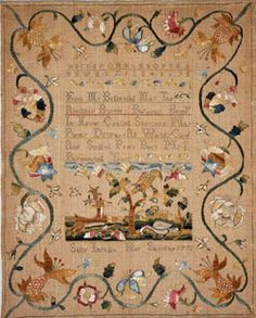 Colonial Sampler - In the colonial era, embroidery was an elite accomplishment. The alphabets that embellished schoolgirl samplers signified both a girl's literacy and her future role as keeper of household textiles, which before industrialization were far more valuable than furniture.