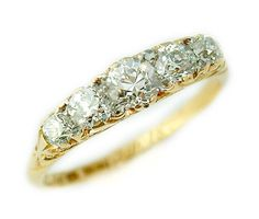 Vintage Eternity Ring - 18ct gold 5 stone old cut diamond ring - Circa 1918