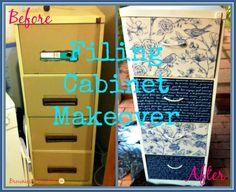 Filing Cabinet Makeover Tutorial- Really easy and so worth it!