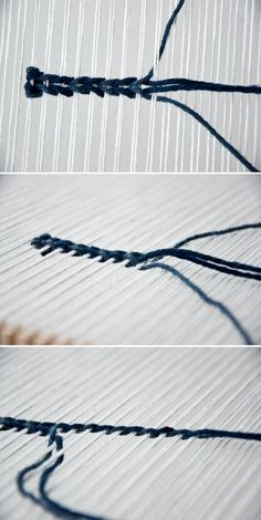 While looking over some old books I came across the twining weave and wanted to try it out. Twining is a process of interlacing strands to make twine, but you Weaving Textiles, Weaving Art, Weaving Patterns, Loom Weaving, Hand Weaving, Stitch Patterns, Knitting Patterns, Textiles Techniques, Weaving Techniques