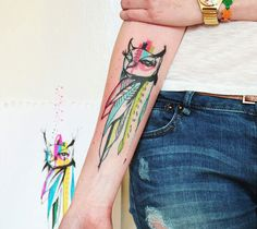 Abstract full colors tattoo of Birds by Bumpkin Tattoo