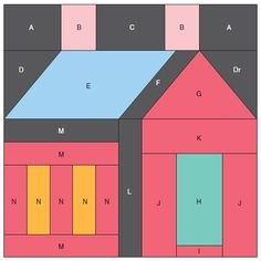 HOUSE BLOCK............PC  ..............Figure 1: Basic house block schoolhouse block pattern used for the Fire Light and Chimney Smoke quilt